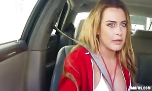 big titted lady is banged into her mouth and box in the vehicle