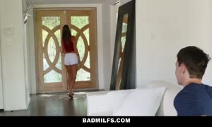 BadMilfs - huge chested mom trains Son How To bang
